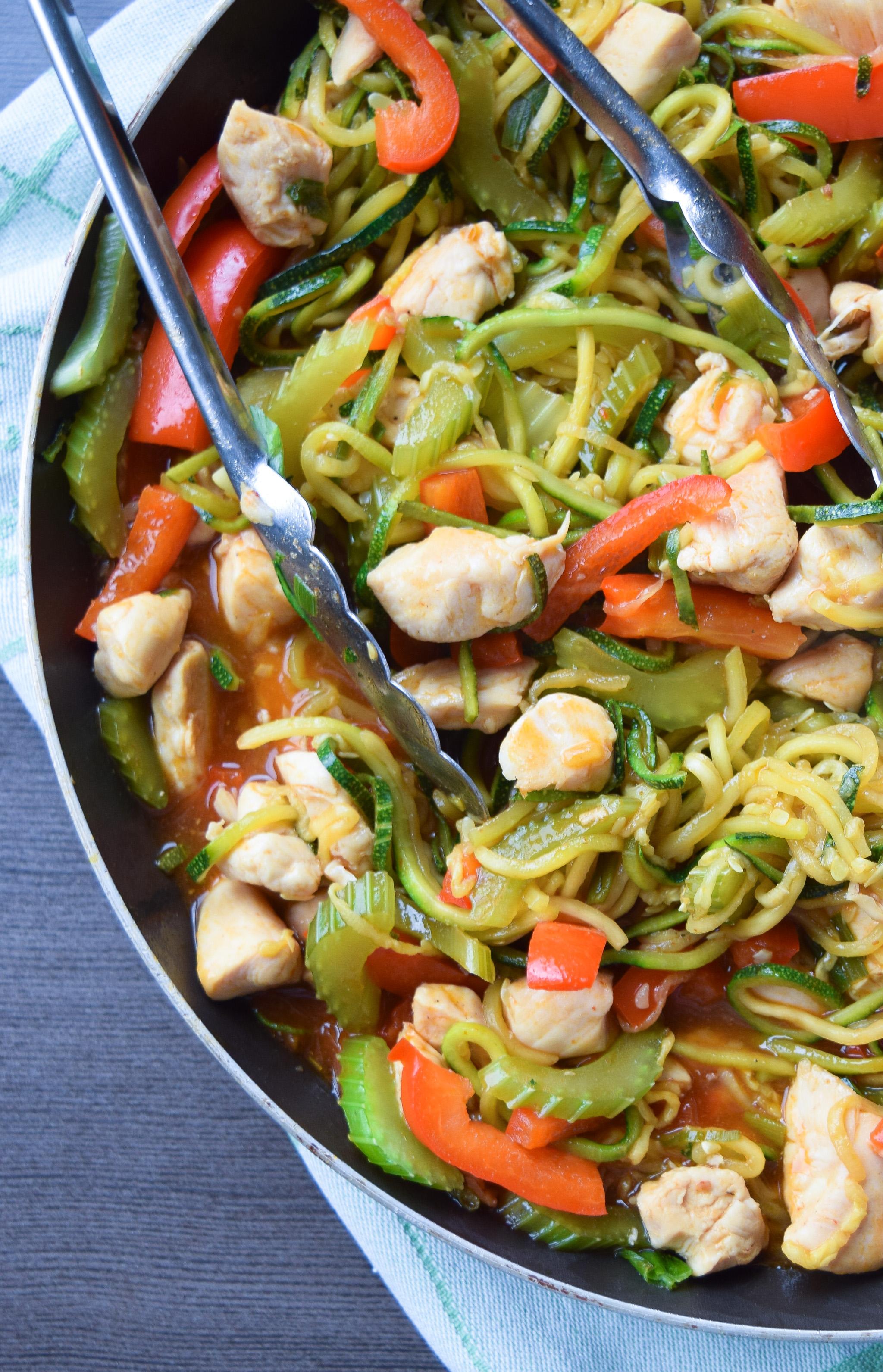 Zucchini Chicken Lo-Mein