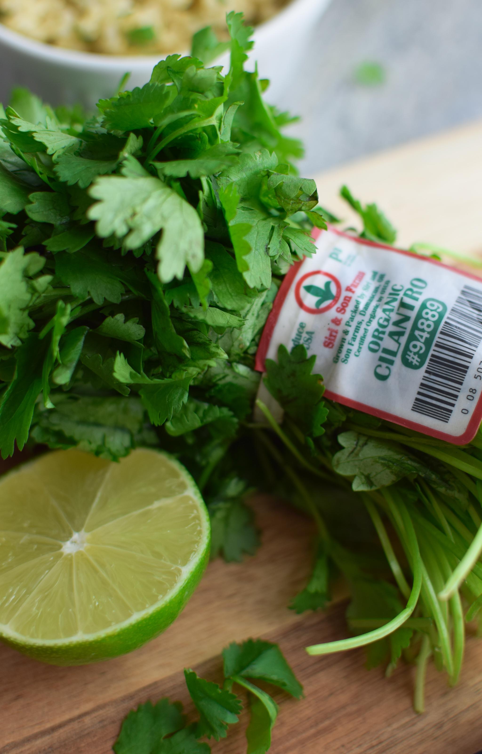 cilantro ready to be cut up for the cilantro lime quinoa