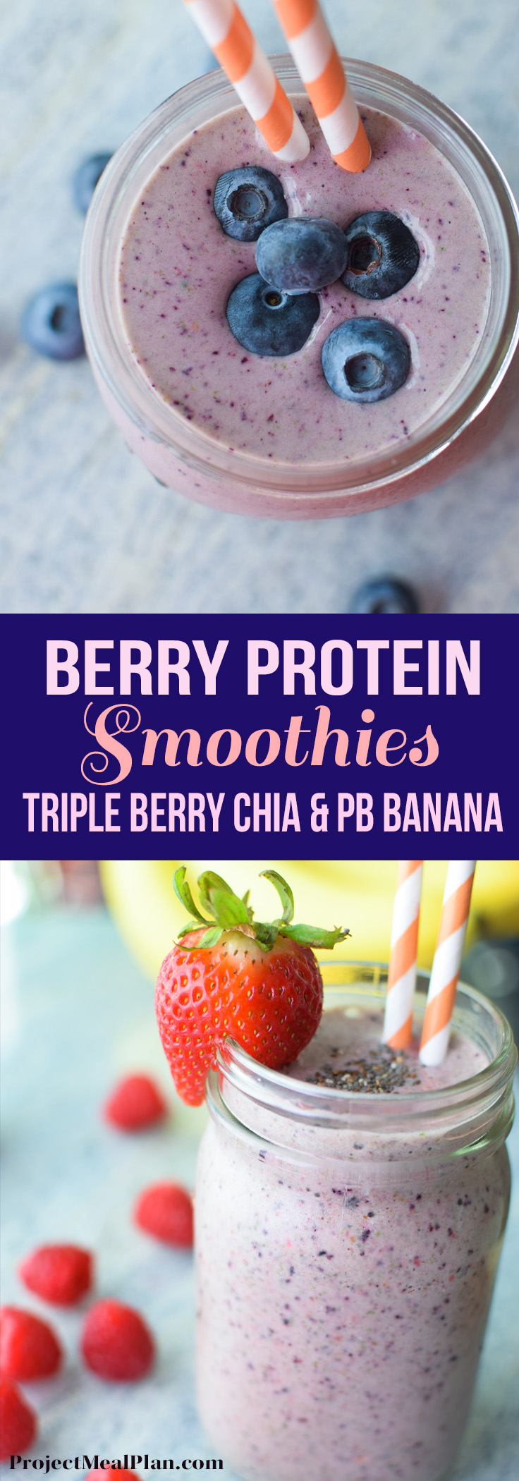 Berry Protein Smoothies Two Ways - Recipes for triple berry chia and PB banana smoothies! yummy & protein filled :) - ProjectMealPlan.com