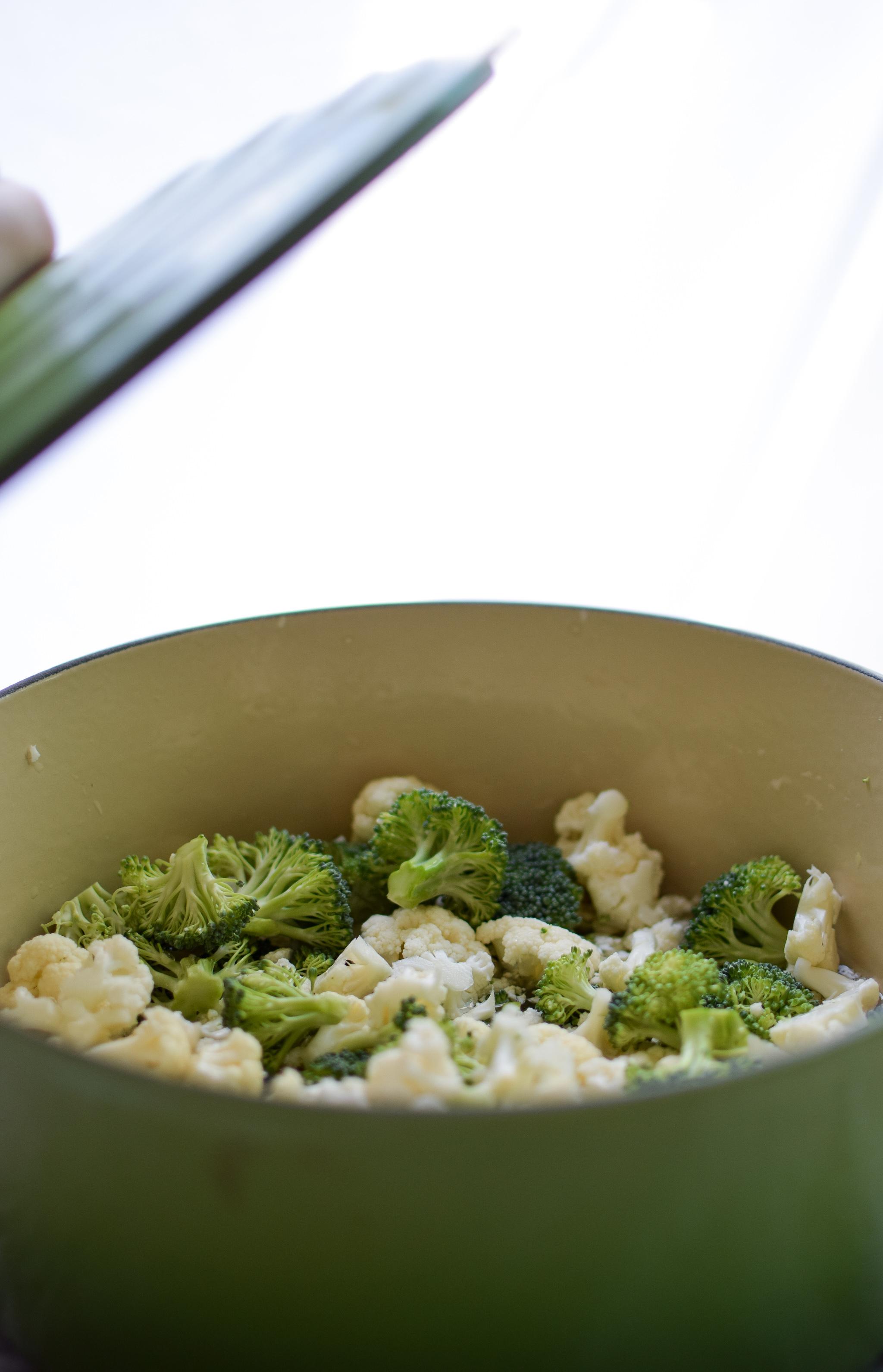Broccoli and cauliflower ready for the Veggie Loaded Rotisserie Chicken Casserole.