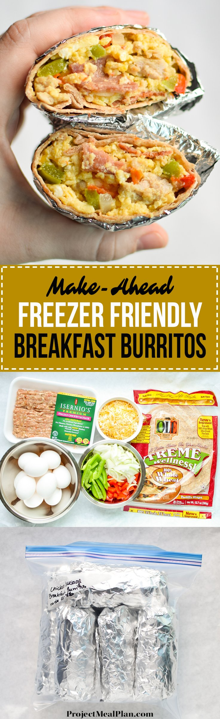 Make-Ahead Freezer Friendly Breakfast Burritos recipe - Method and tips for making your very own freezer friendly breakfast burritos! - ProjectMealPlan.com
