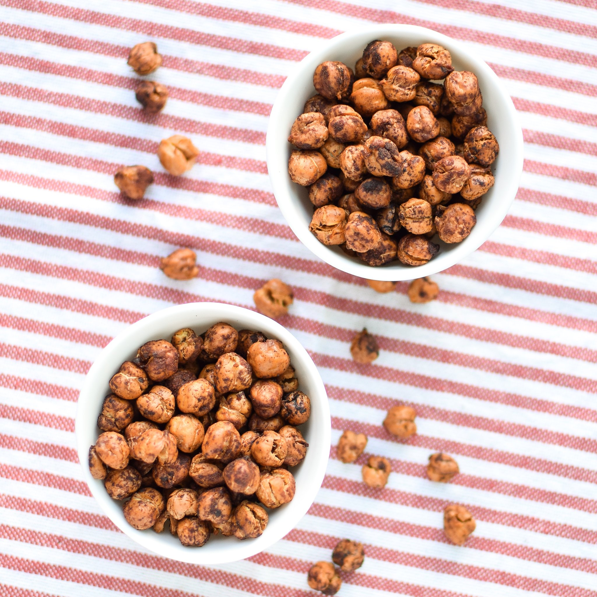 crispy cinnamon roasted chickpeas in bowls