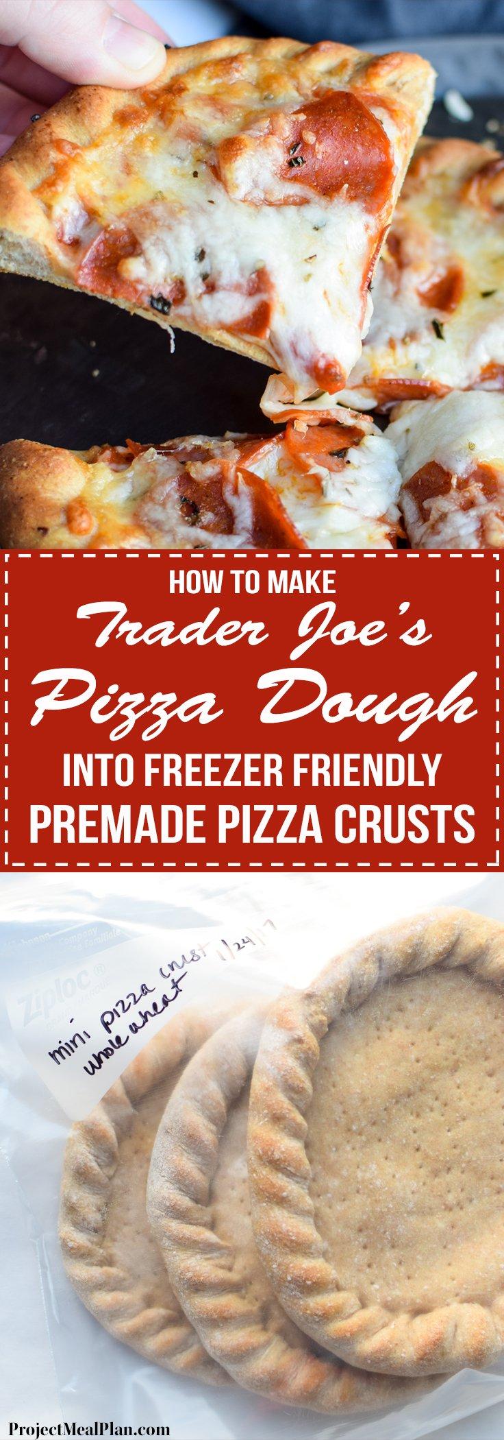 How To Make Trader Joe's Pizza Dough Into Freezer Friendly Premade Pizza Crusts - Four mini pizza crusts in the freezer for emergencies!! Using SUPER cheap Trader Joe's dough! - ProjectMealPlan.com