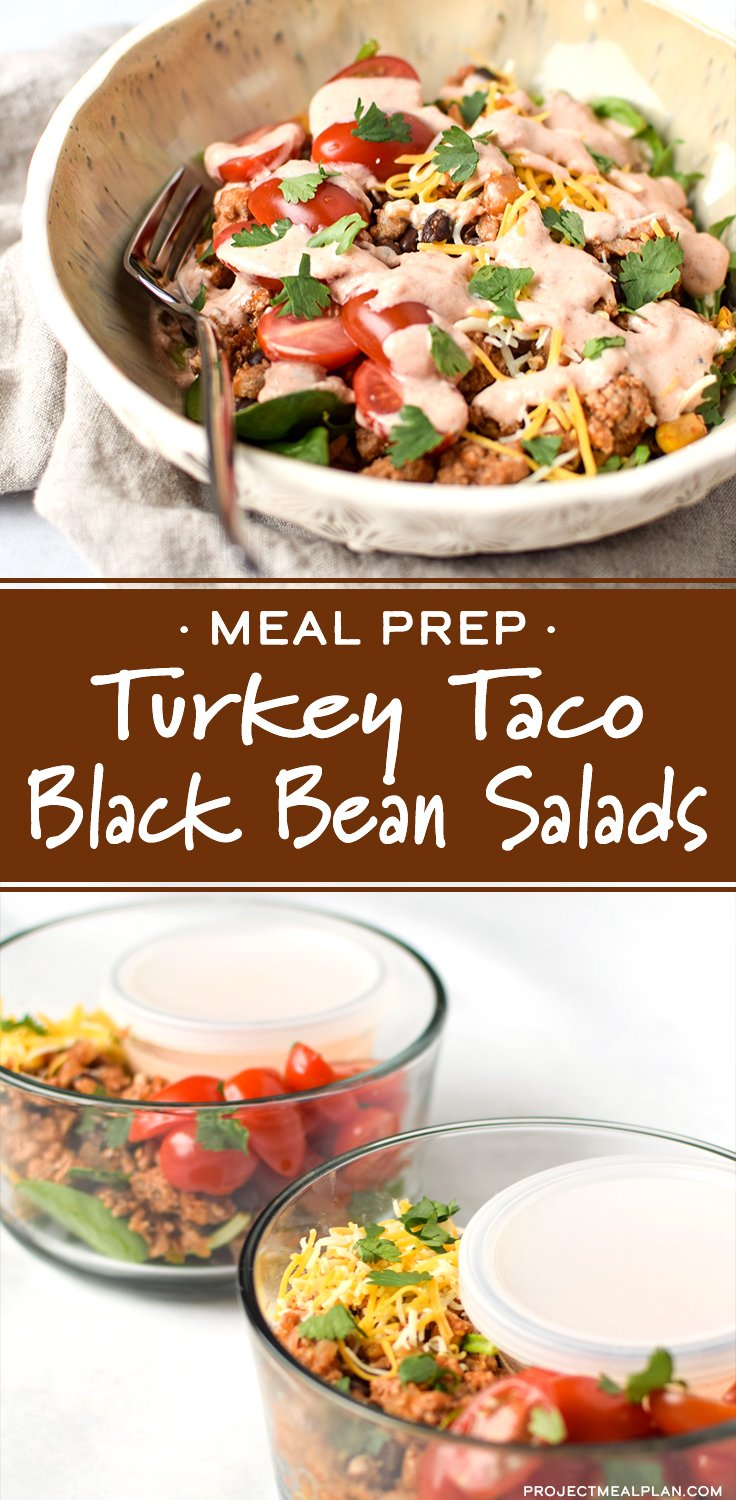 Long Pinterest Pin for the Turkey Taco Black Beans Salads - showing two photos previously shown above.