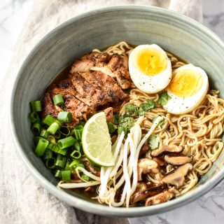 Simple Shiitake Mushroom Chicken Ramen recipe - I use chicken bone broth and brown rice ramen for this easy homemade noodle soup! - ProjectMealPlan.com