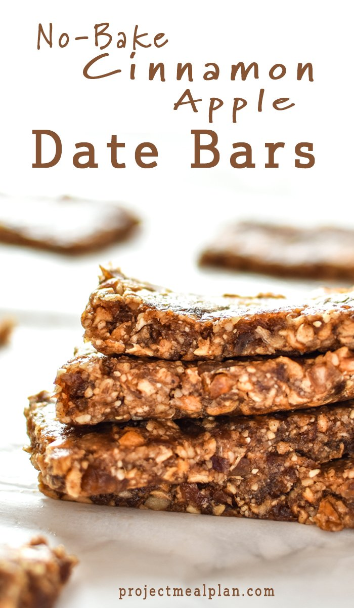 No-Bake Cinnamon Apple Date Bars - These No-Bake Cinnamon Apple Date Barsare naturally sweetened with dates and take just a few minutes to prepare - without heating up the oven! - ProjectMealPlan.com