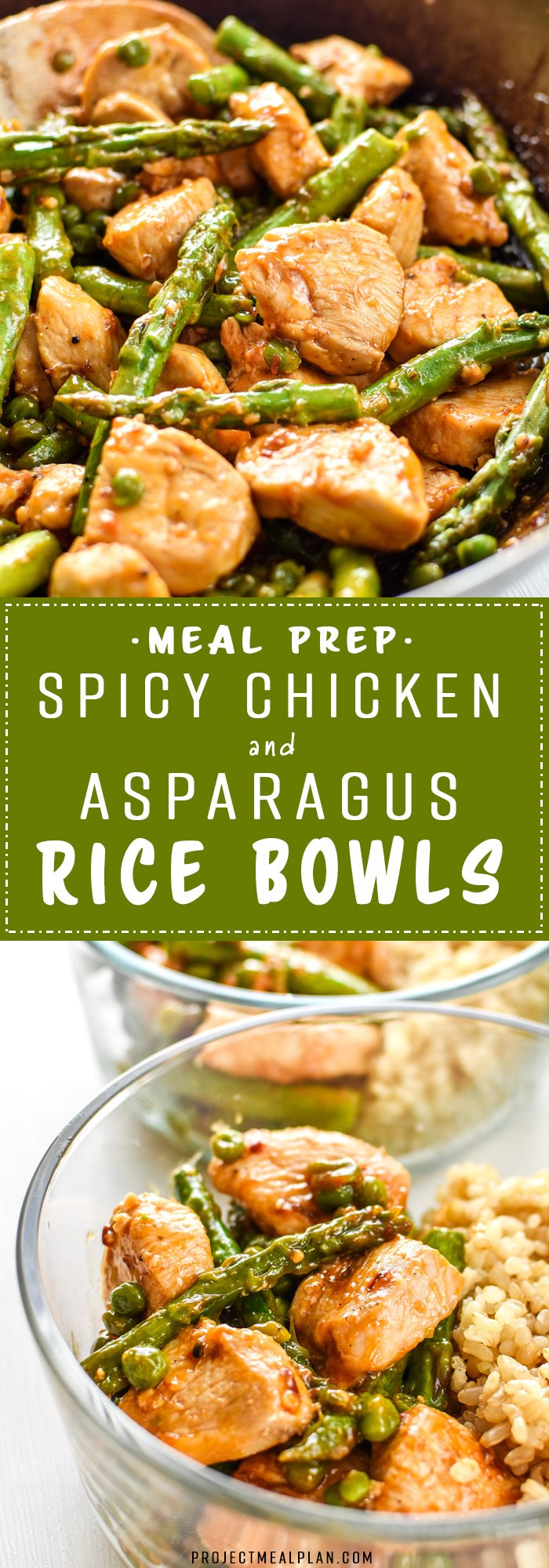 Meal Prep Spicy Chicken and Asparagus Rice Bowls - A simple stir-fry style recipe that's quick and easy to throw together. Pair with white or brown rice for the perfect Sunday Meal Prep bowls! - ProjectMealPlan.com