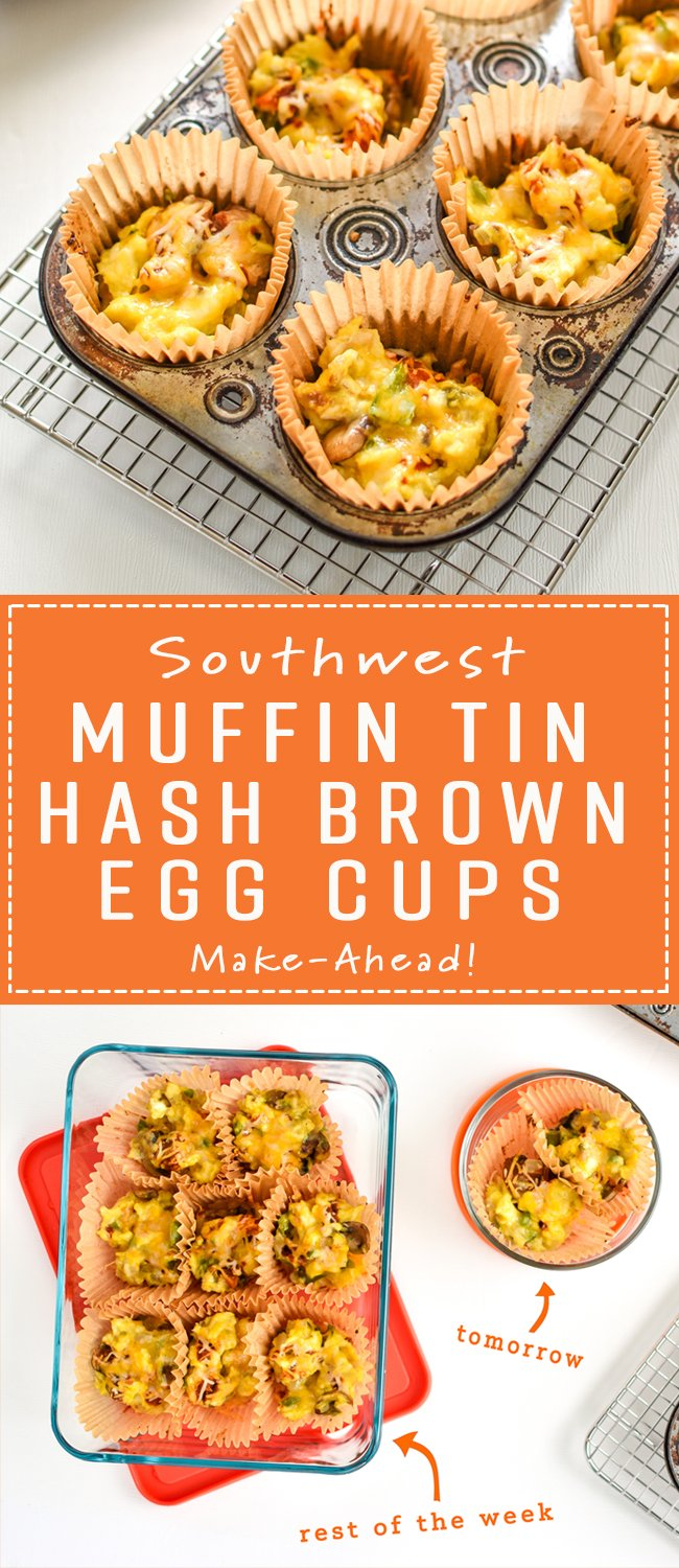These Southwest Muffin Tin Hash Brown Egg Cups are perfect for your breakfast meal prep! Southwest hash browns with veggies, cheese, scrambled eggs, and a tiny dose of chipotle Tabasco! - ProjectMealPlan.com