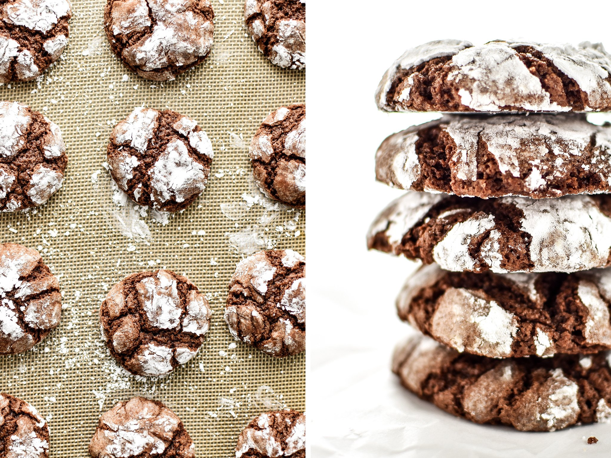 Classic Chewy Chocolate Crinkle Cookies in a stack and on a silpat baking pan.