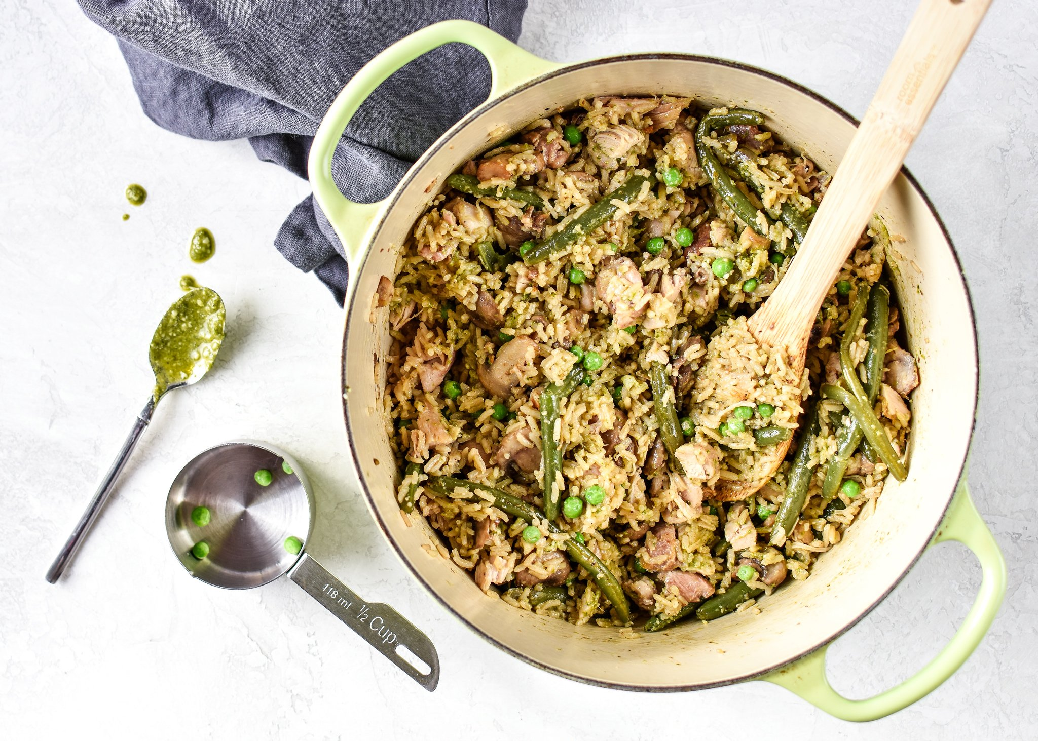 one pot pesto chicken and rice in a dutch oven