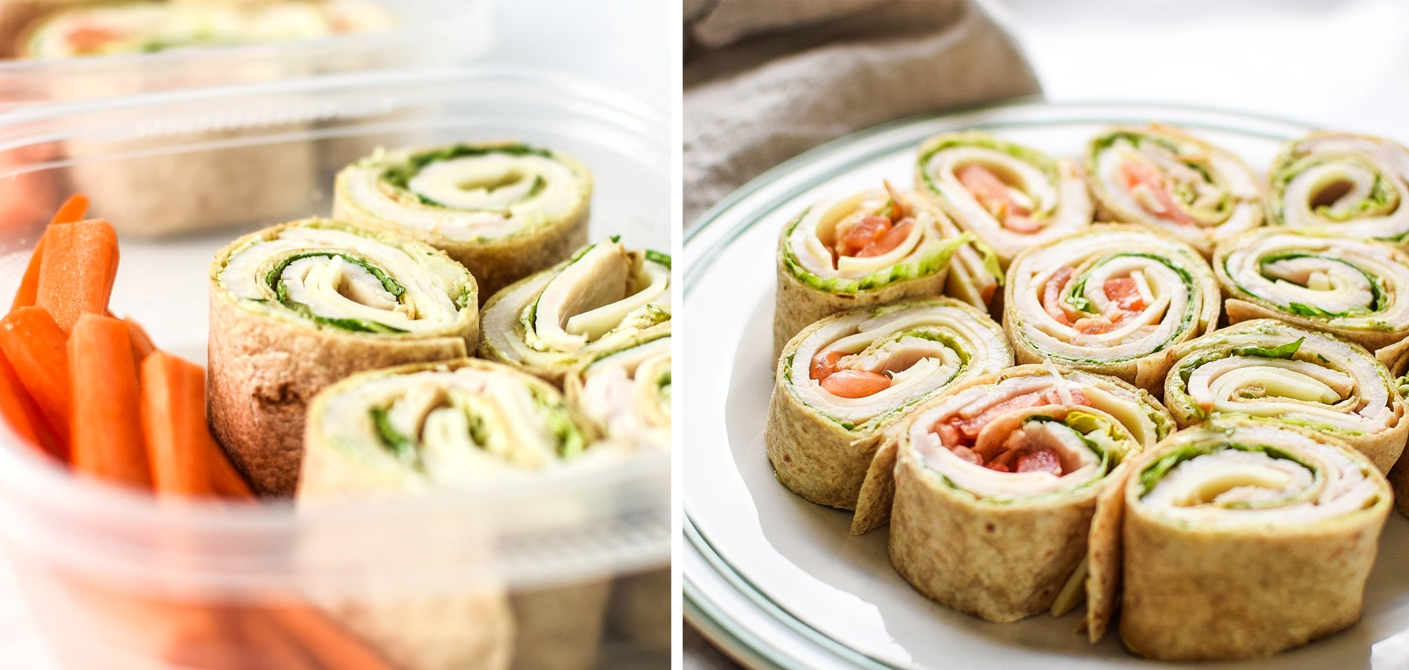 turkey pesto tortilla pinwheels prepped in lunch containers and made on a plate