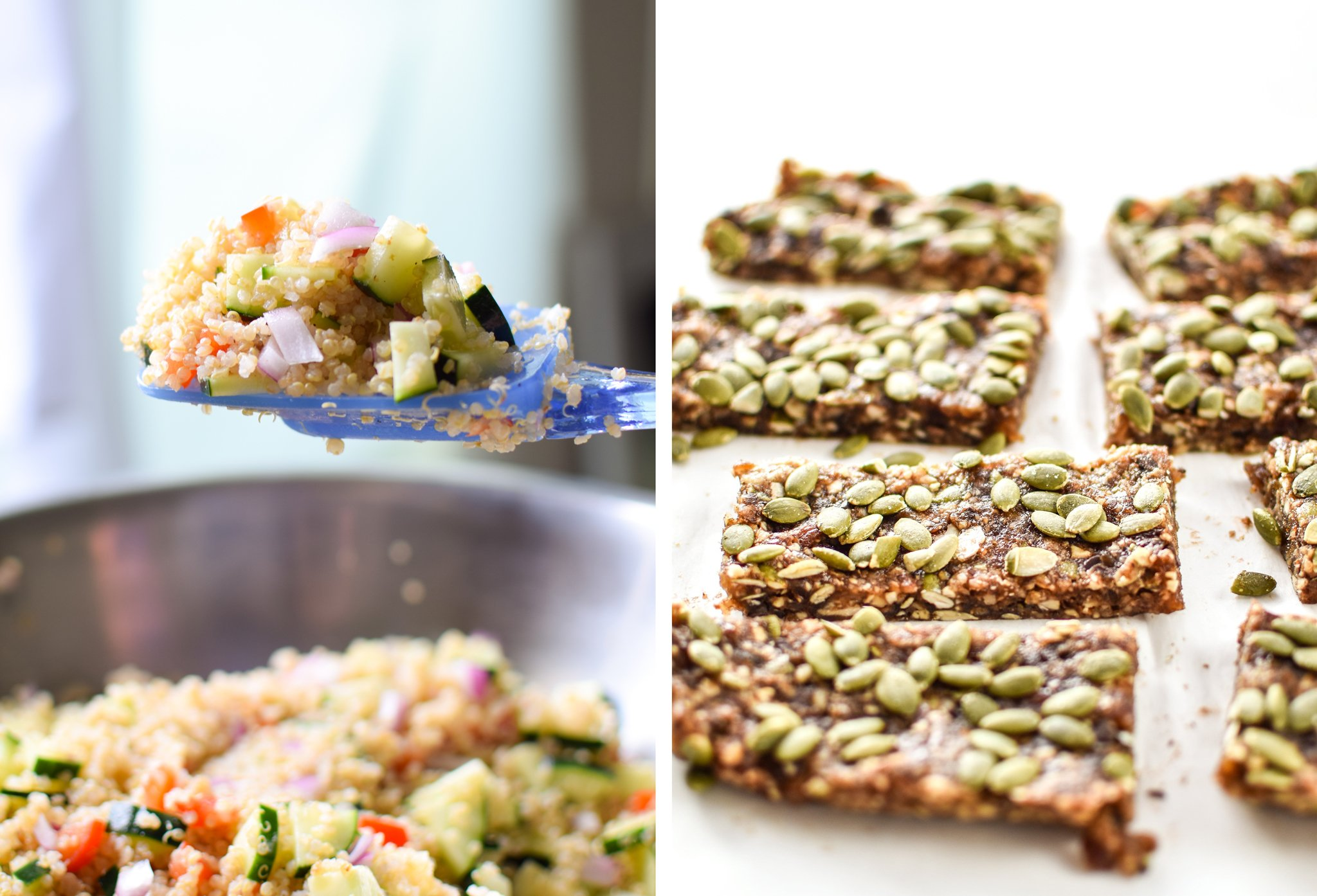 Quinoa salad with a hazy blue and grey background on the left; No-Bake Date bars on the right with a clean white background.
