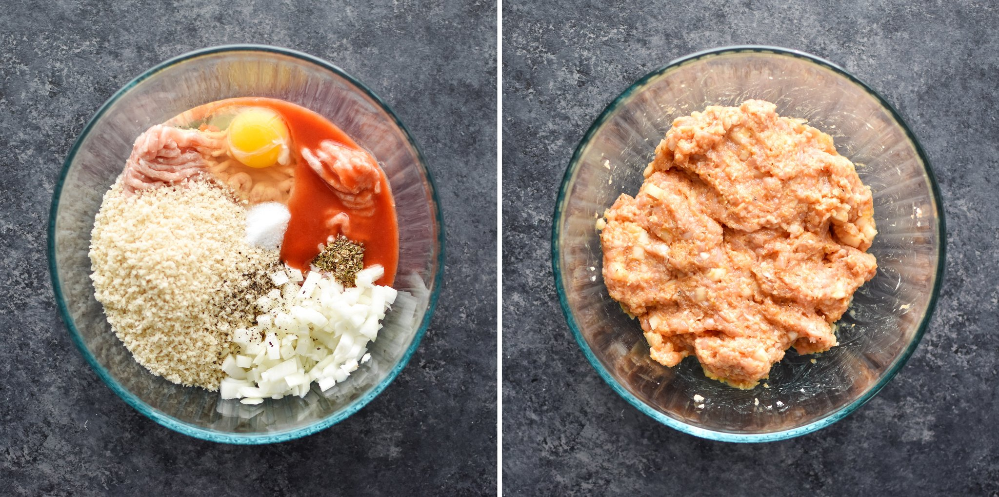Raw chicken meatball mixture before and after mixing.