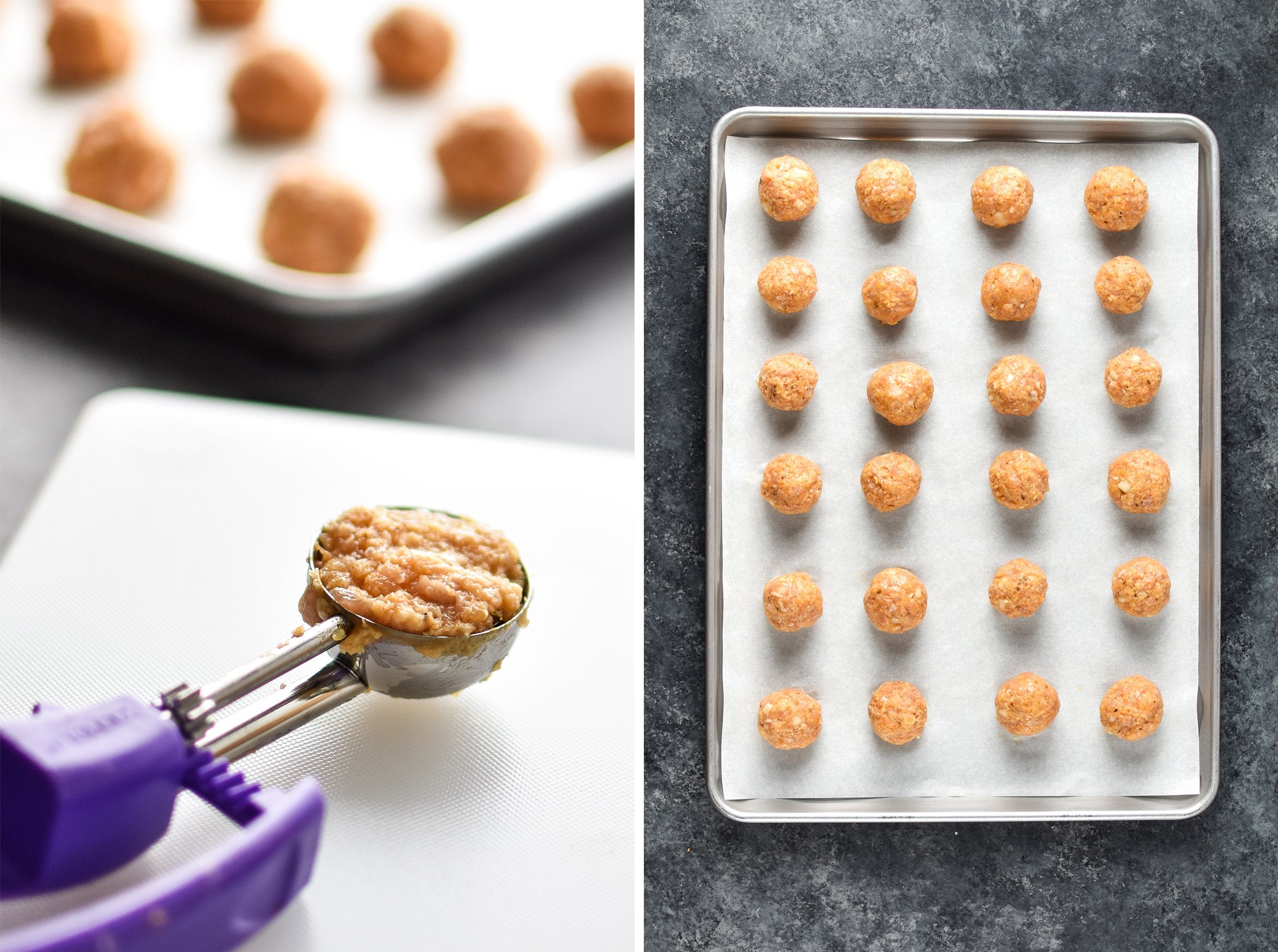 Scoops of raw meatball mixture and a sheet pan of meatballs ready to be cooked.