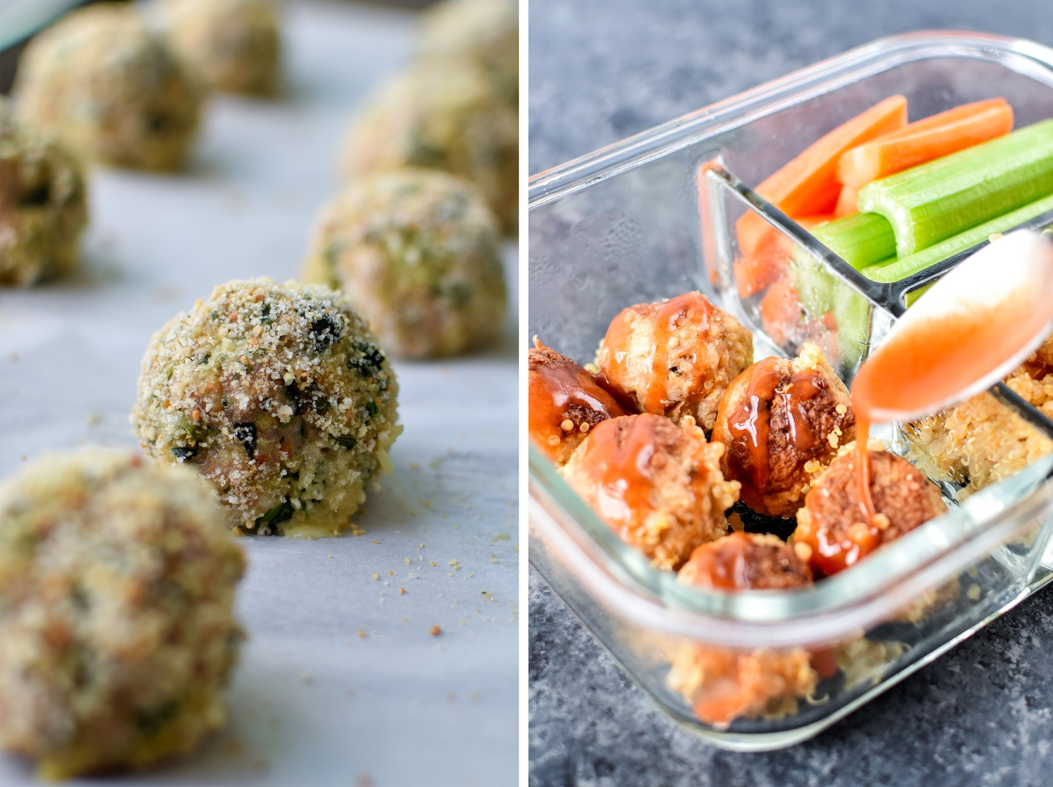Spinach turkey meatballs on the left; buffalo chicken meatballs in a meal prep container on the right.