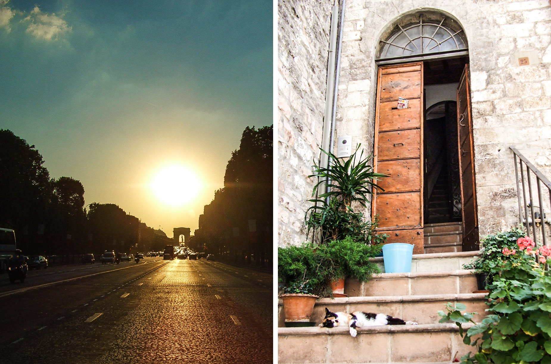 Two photos; Left is looking up the street towards the Arc de Triomphe. Right is a doorstep in Italy with a calico cat on the steps.