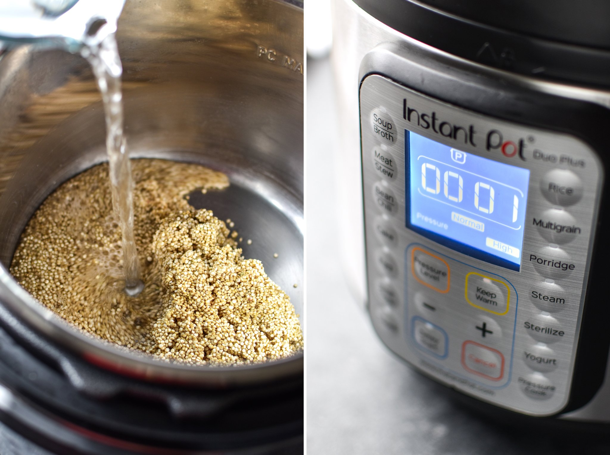 Two photos; Left- Pouring water over uncooked quinoa inside the Instant Pot. Right- Instant pot set to pressure cook for one minute.