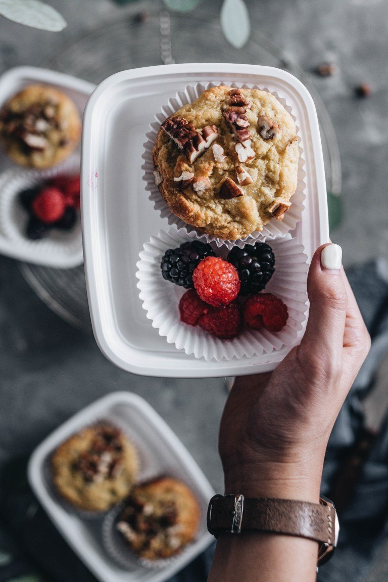 Healthy muffins with berries meal prep.