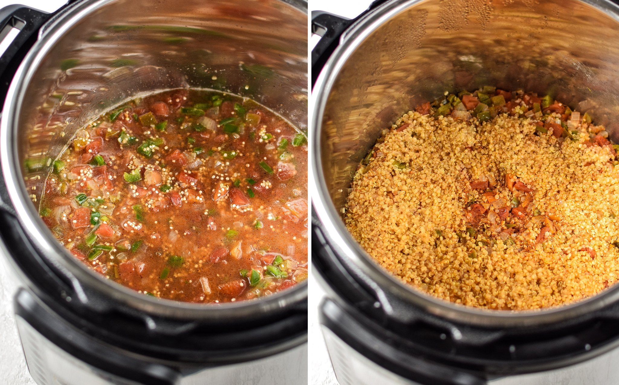 Before cooking and after cooking quinoa in the IP.