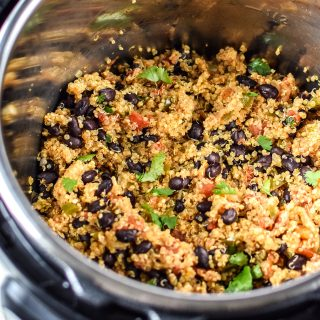 Cooked Mexican Quinoa in the Instant Pot.