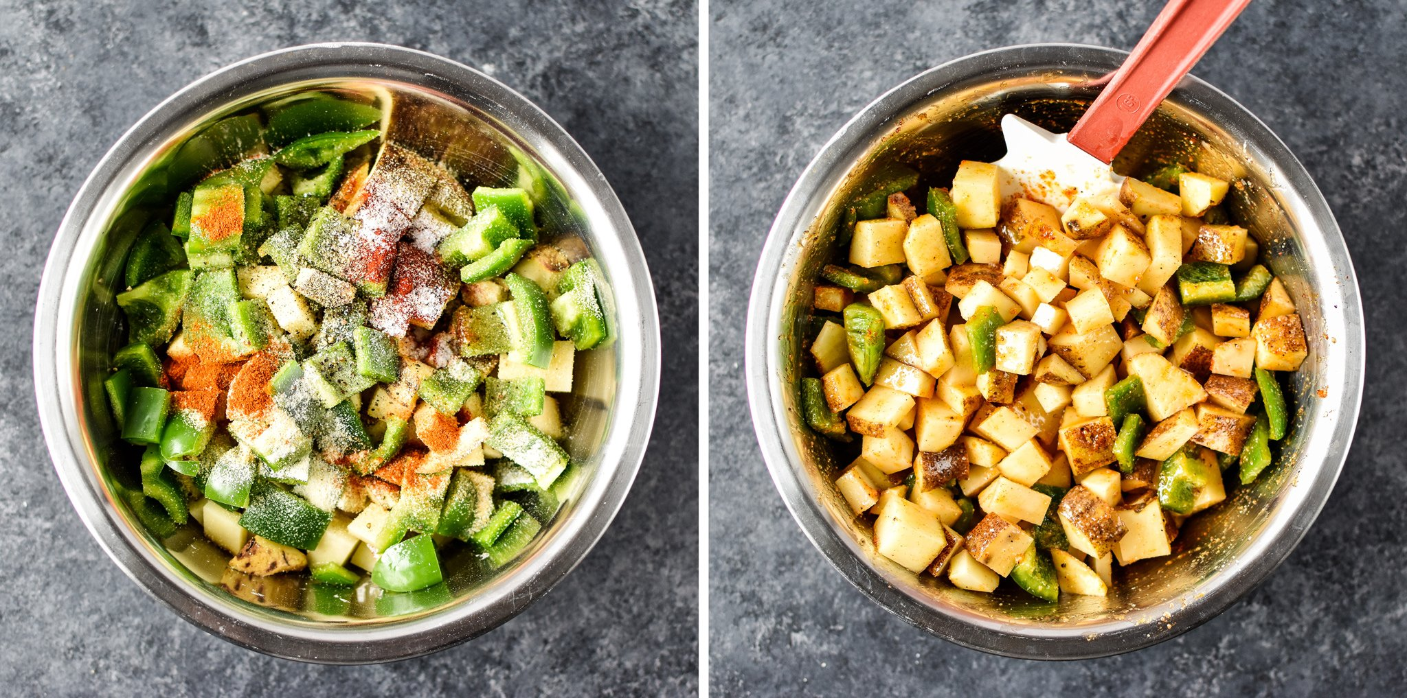 Left: A bowl of peppers and breakfast potatoes with seasonings on top. Right: The same bowl stirred up and ready to be cooked.