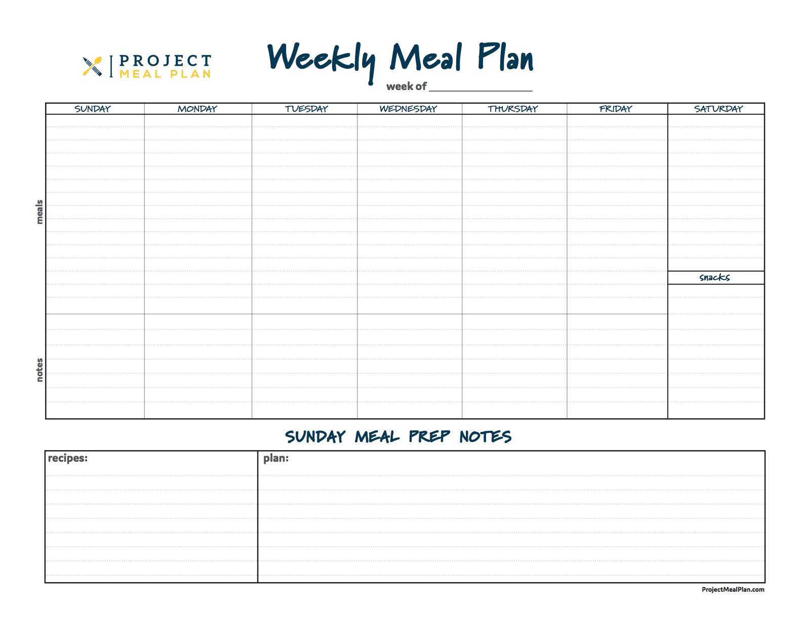 Daily Meal Planner Template from projectmealplan.com