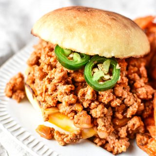 Turkey sloppy joes on a plate.