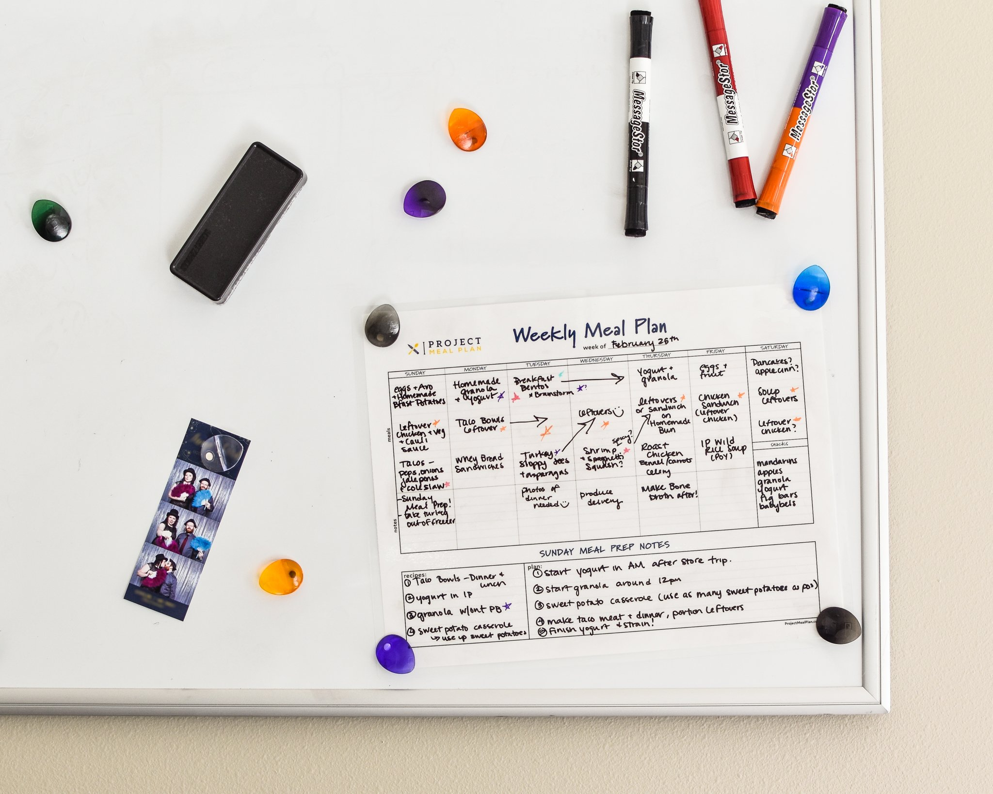 a weekly meal planner template attached to a white board with magnets
