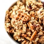 A bowl of super clumpy nut free free snack mix granola.
