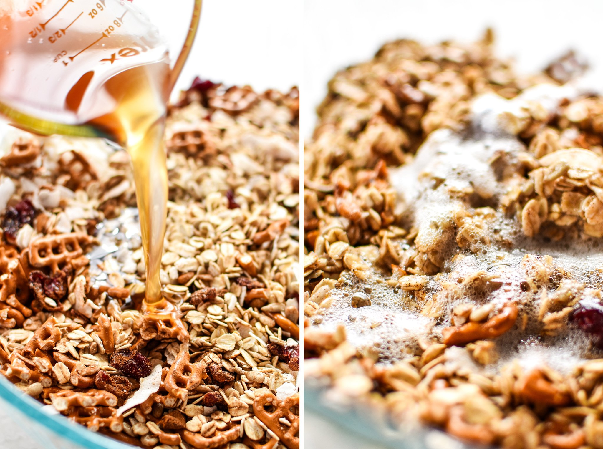 Pouring ingredients into the bowl of granola mixture.