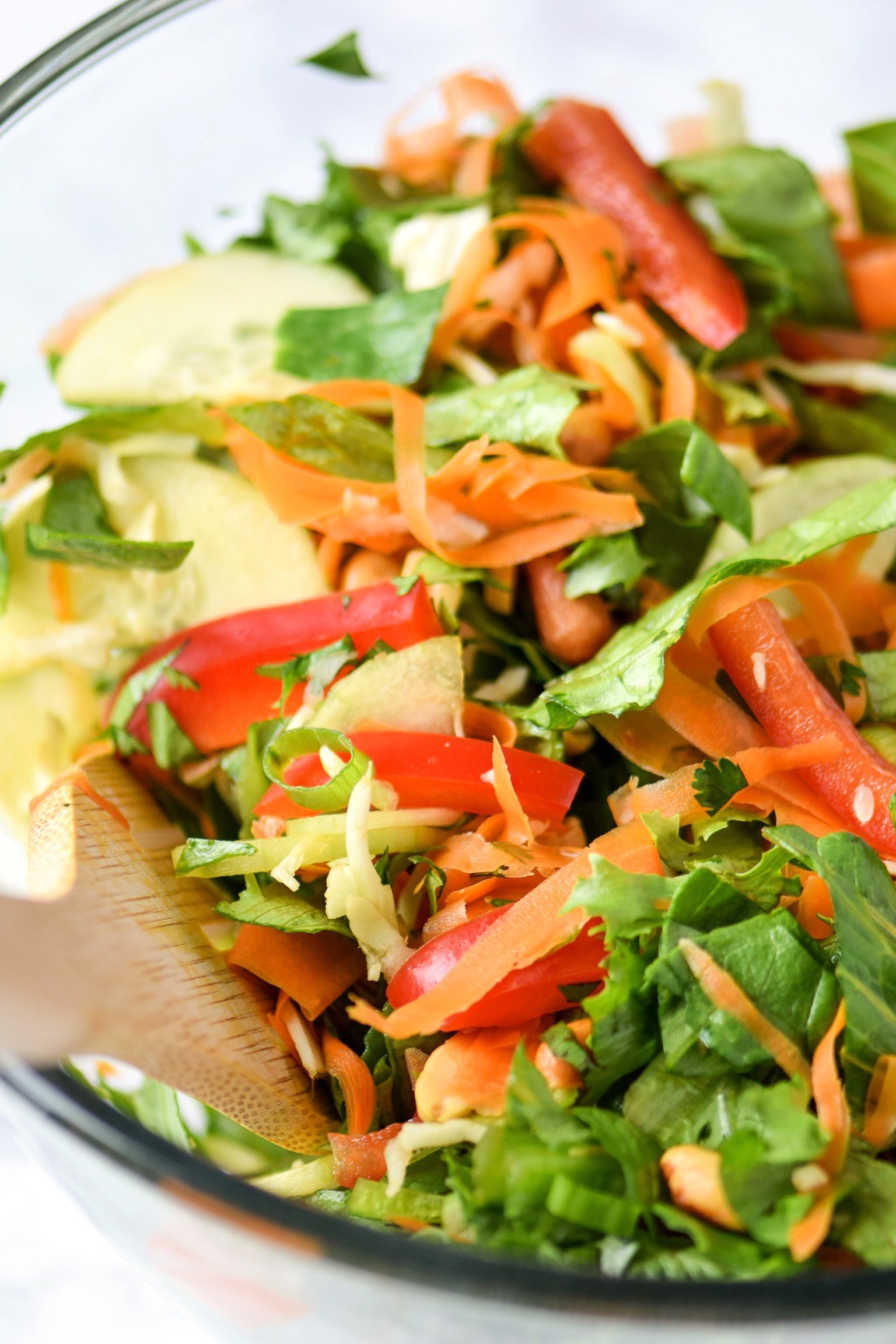 Colorful thai inspired salad with romaine, cilantro, bell peppers, carrots and cucumber.