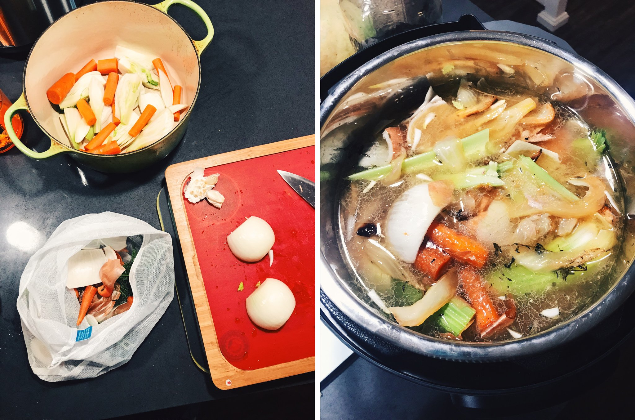 Saved veggies scraps when cutting up vegetables are used in the Instant Pot to make broth.