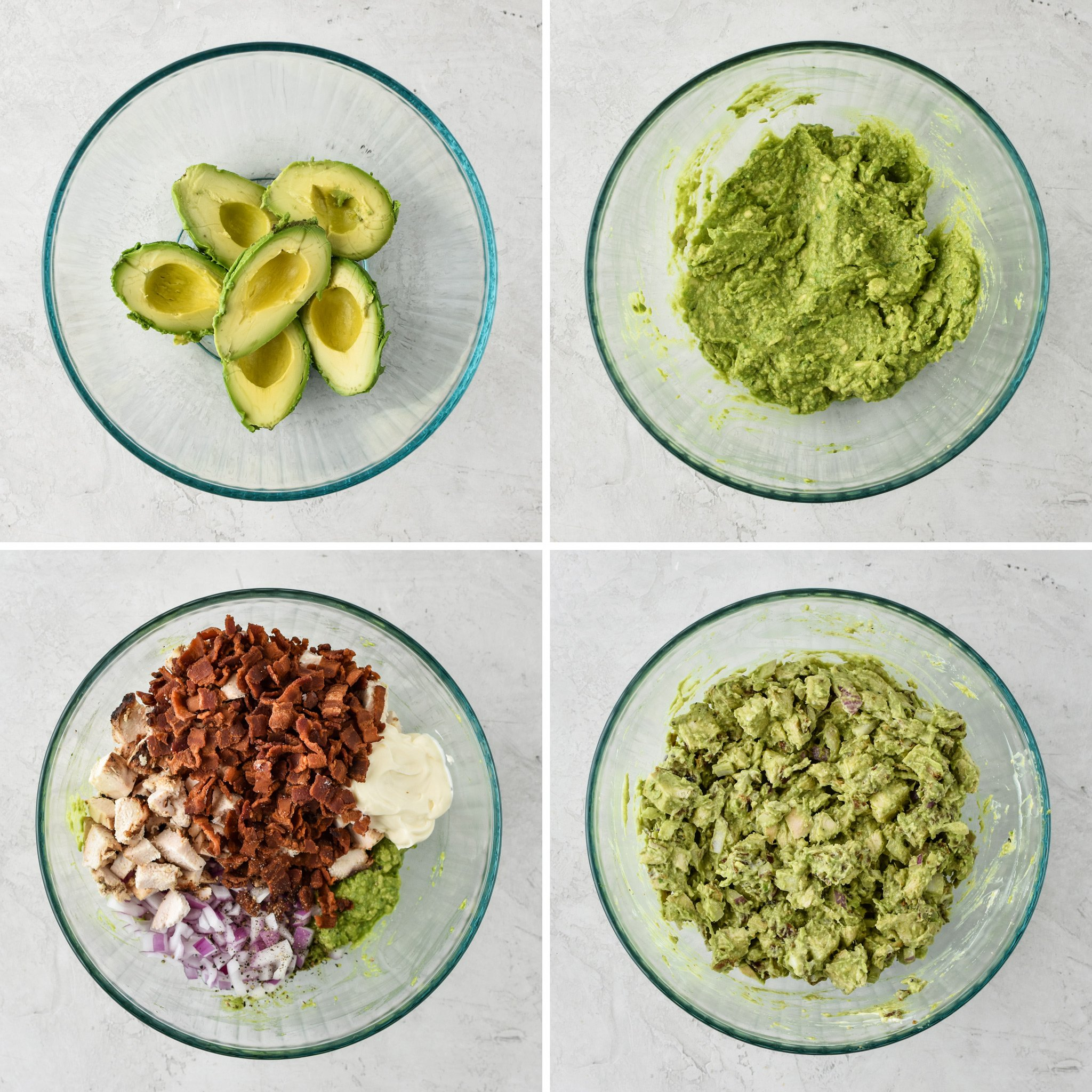 How to make the chicken bacon avocado salad sandwich in a mixing bowl.