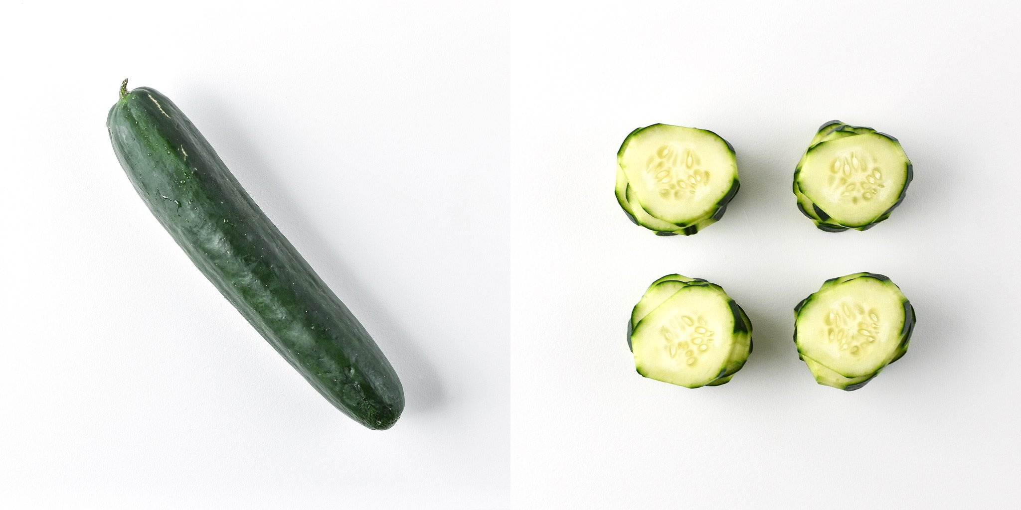 Cucumbers before and after preparing and portioning.