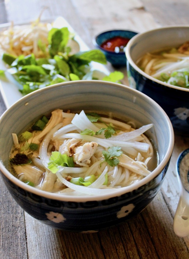 A bowl of instant pot pho ga from the hungry bluebird.