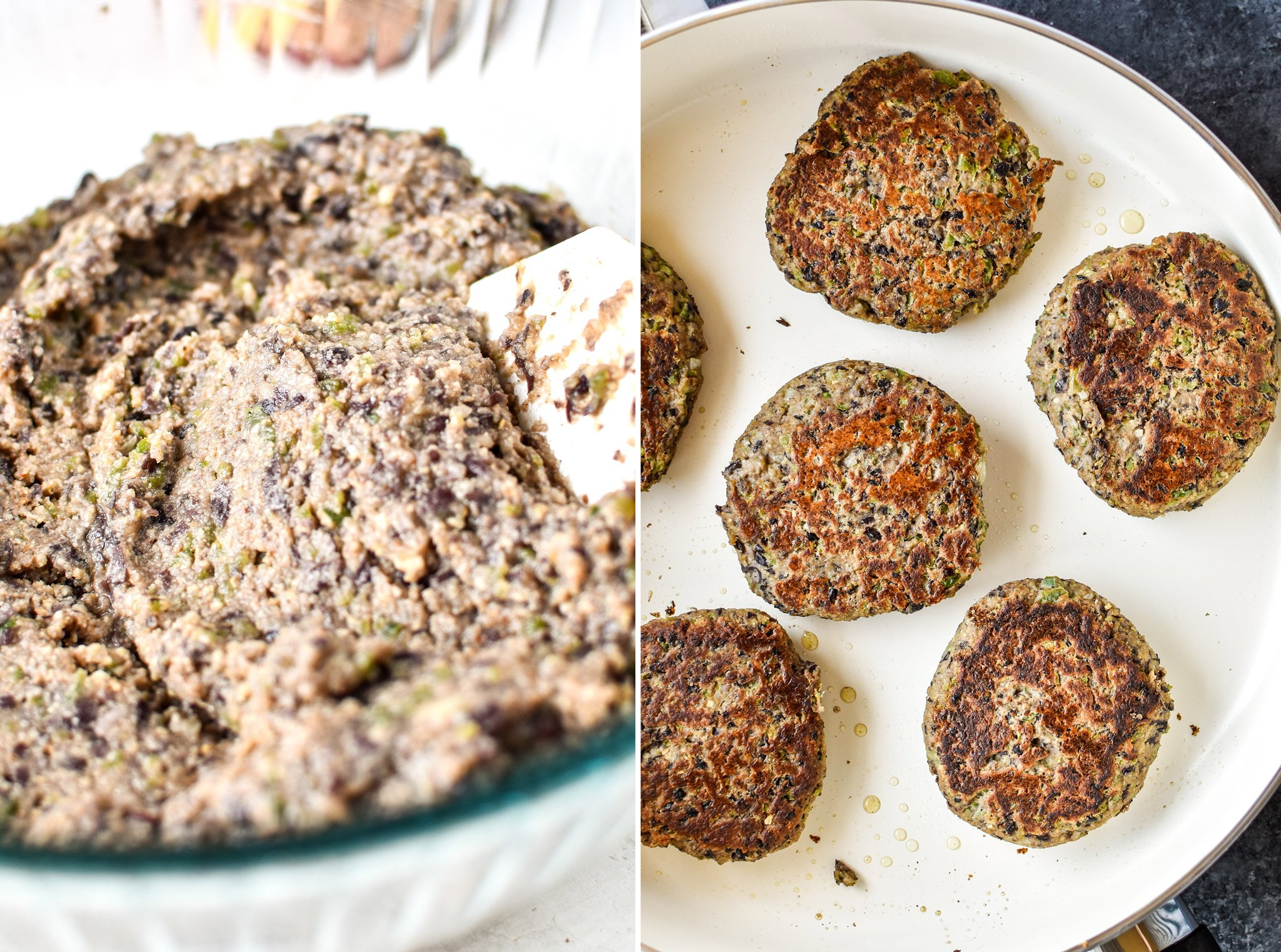 Left: Black bean burger mixture with the breadcrumbs completely stirred in. Right: Cooking 6 freezer friendly black bean burgers.