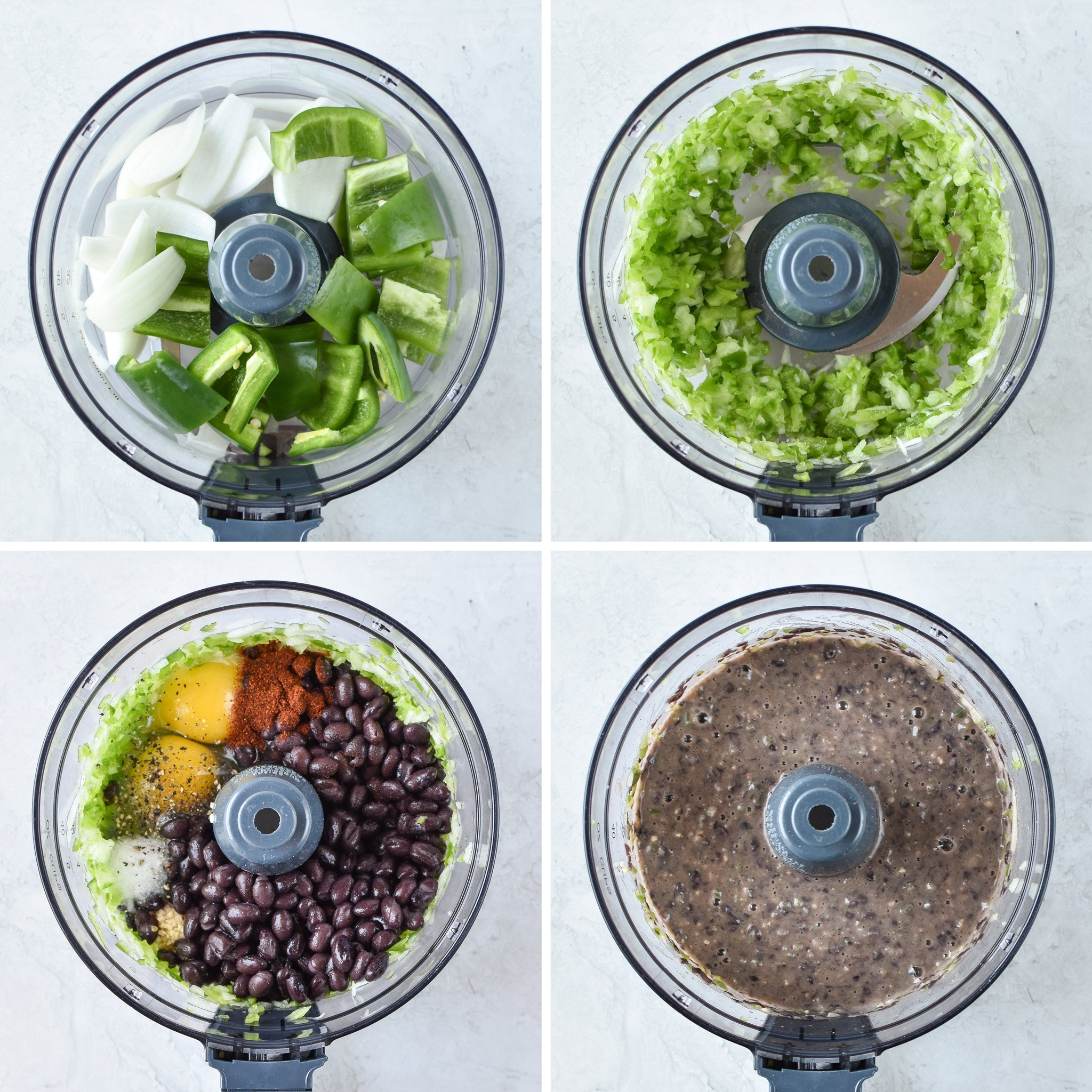 step by step images for making the freezer friendly black bean burgers in a food processor