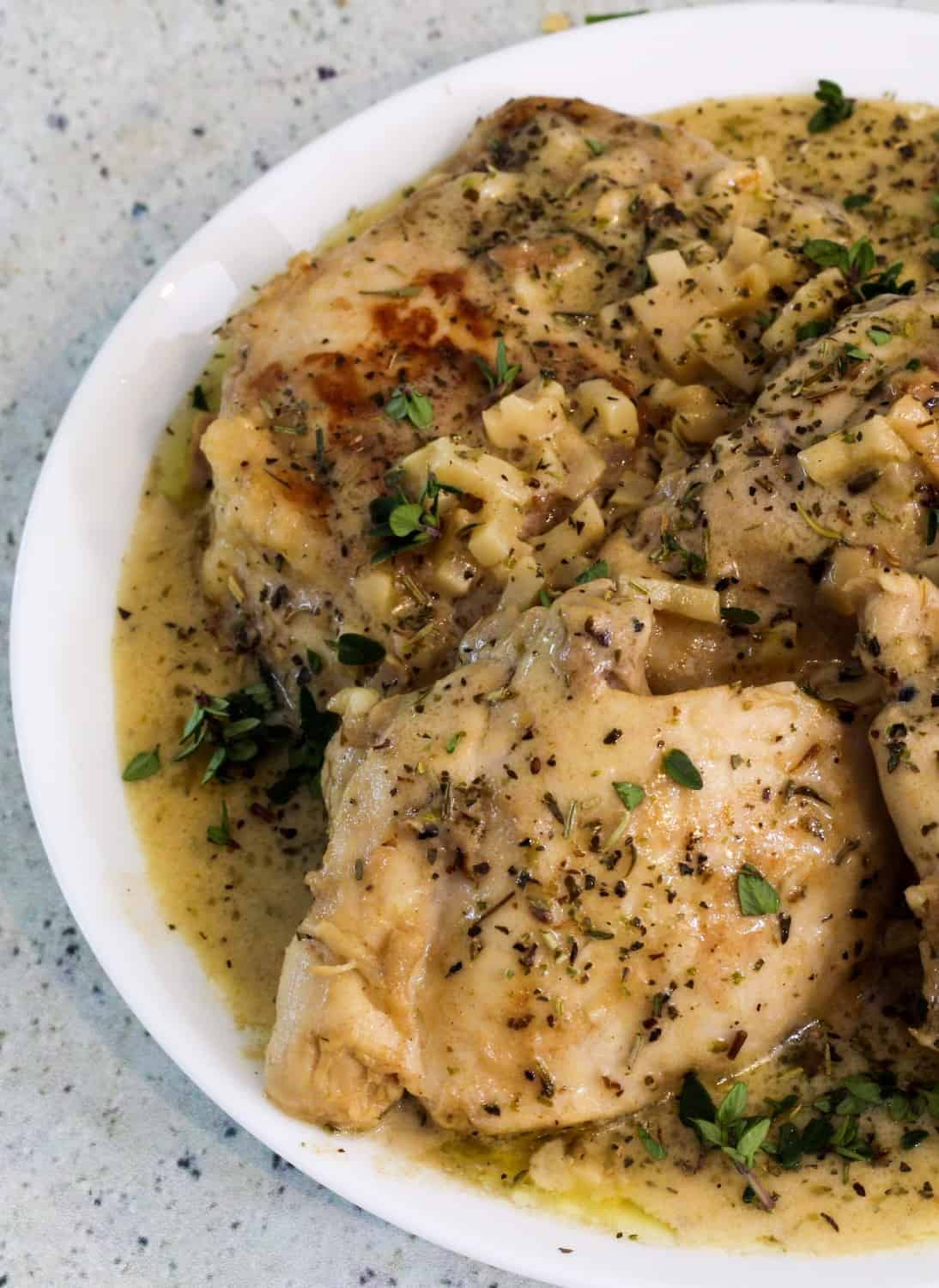 Low carb instant pot french garlic chicken from two sleevers