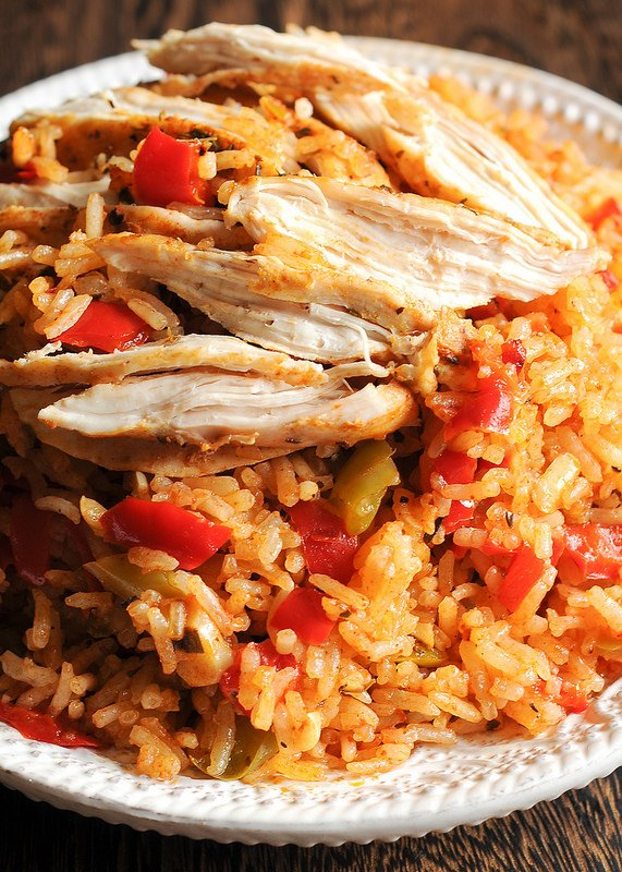 A bowl of Instant Pot Chicken and Rice from What's In the Pan
