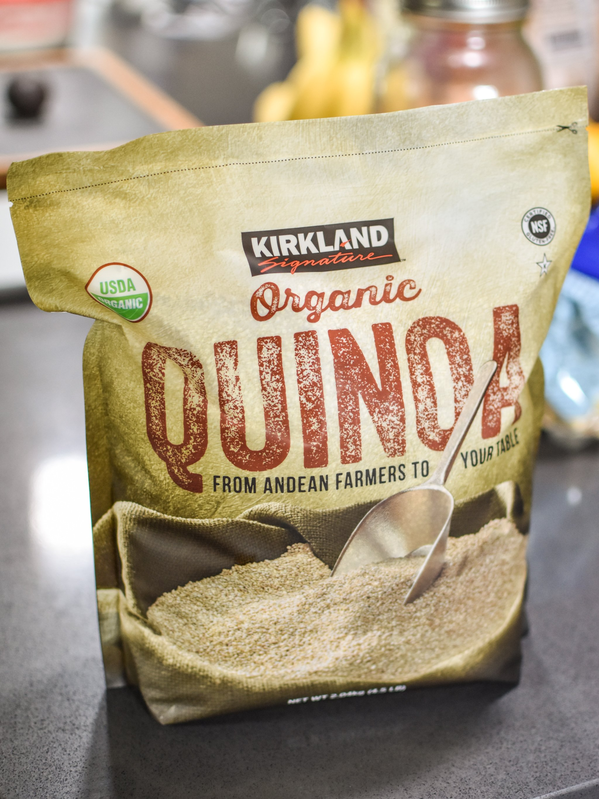 A big costco sized bag of quinoa, one of the 10 staple meal prep foods always in my kicthen