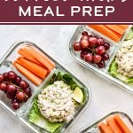 Rock the hot weather meal prep session with this Low Carb Tuna Salad Lettuce Wraps Meal Prep lunch! It's a simple three serving meal prep of tuna salad with romaine lettuce wraps paired with fruits and veggies - healthy, easy, and no heating required! #projectmealplan #mealprep #coldlunch #tunasalad #lettucewraps