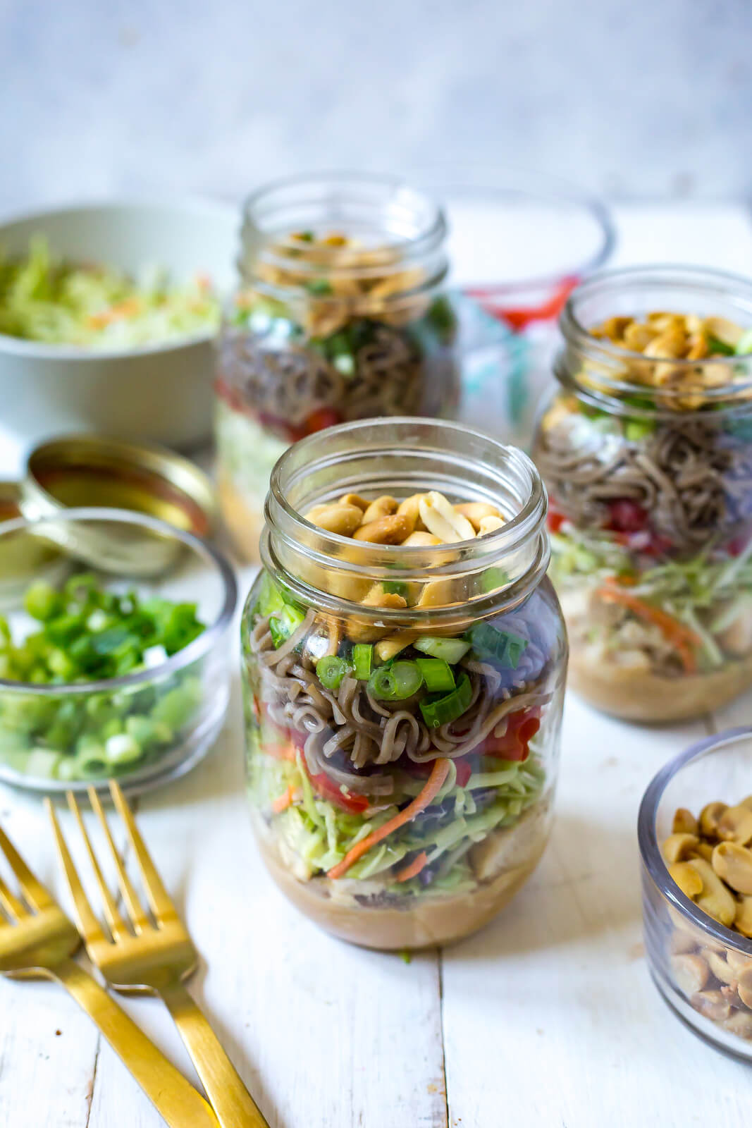 Chicken soba noodle salad in mason jars are a great no cook meal prep option (use rotisserie chicken).