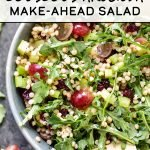 This Make-Ahead Lemon Poppyseed Couscous Arugula Salad is the perfect addition to your summer lunch routine! Packed with red grapes, toasted couscous, diced celery, and peppery arugula tossed in lemon poppyseed dressing - it's simple to make and even easier to eat! #projectmealplan