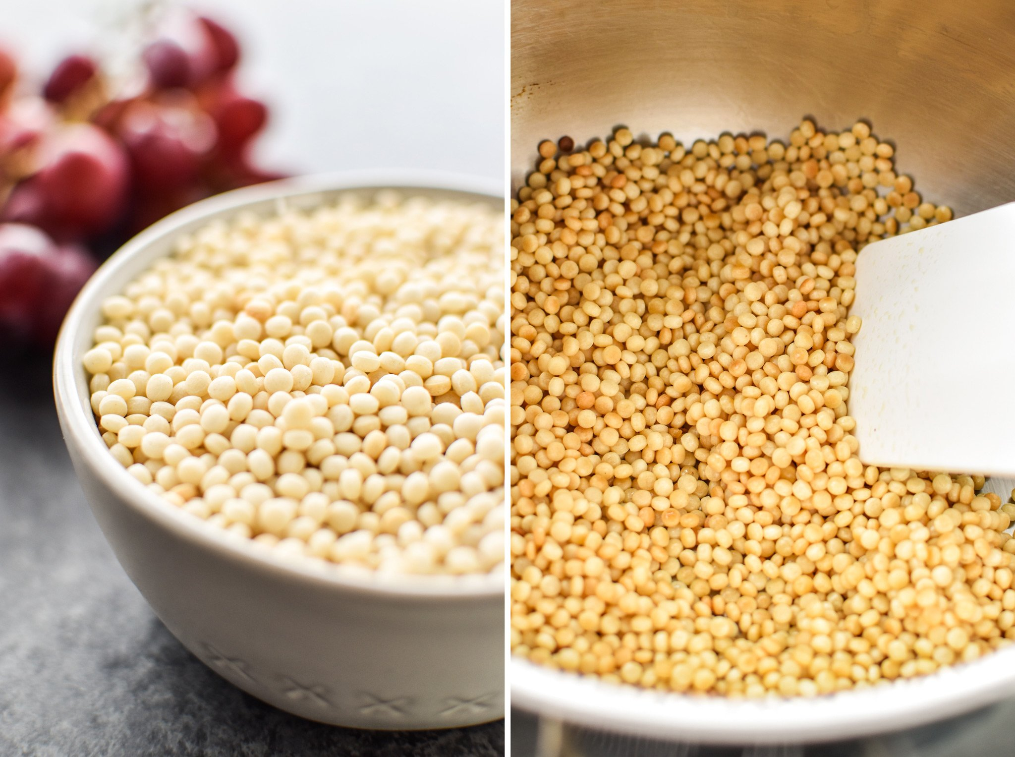 Left: Couscous before cooking, measured in a 1 cup bowl. Right: Quinoa during toasting in a pan with olive oil.