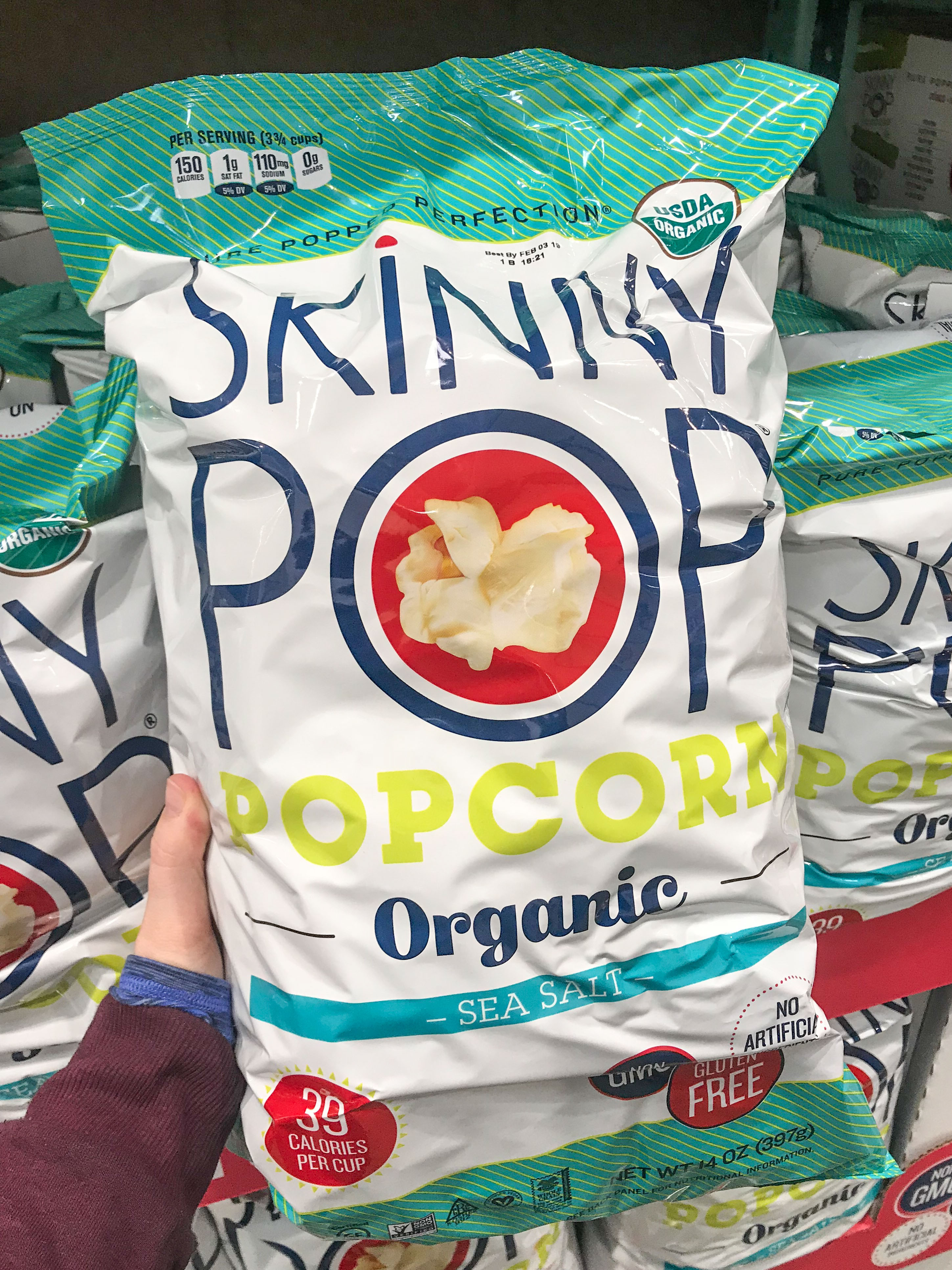 Skinny Pop popcorn is one of the best snacks to buy at costco