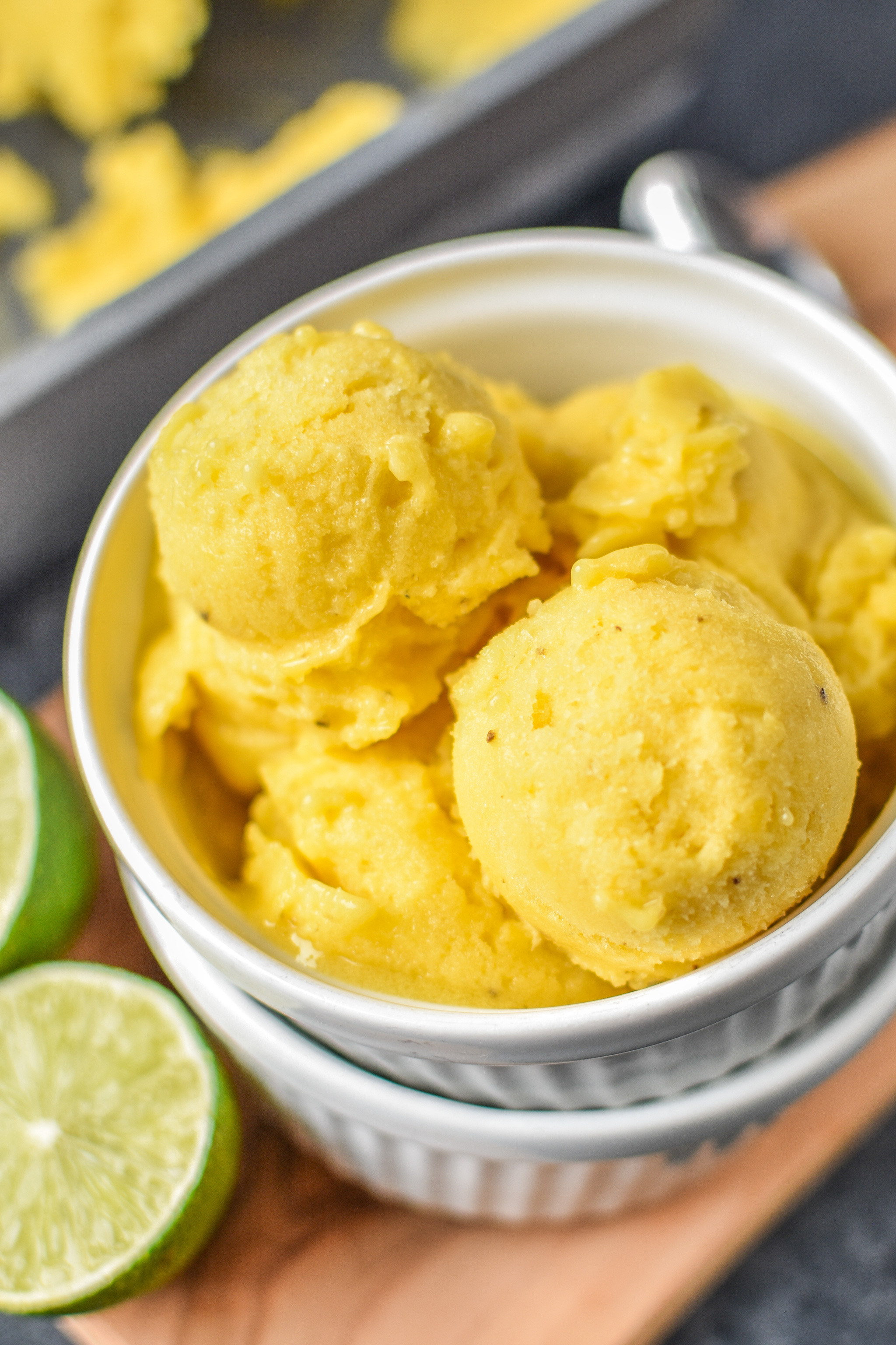 Mango Lime Nice cream ready to be served.