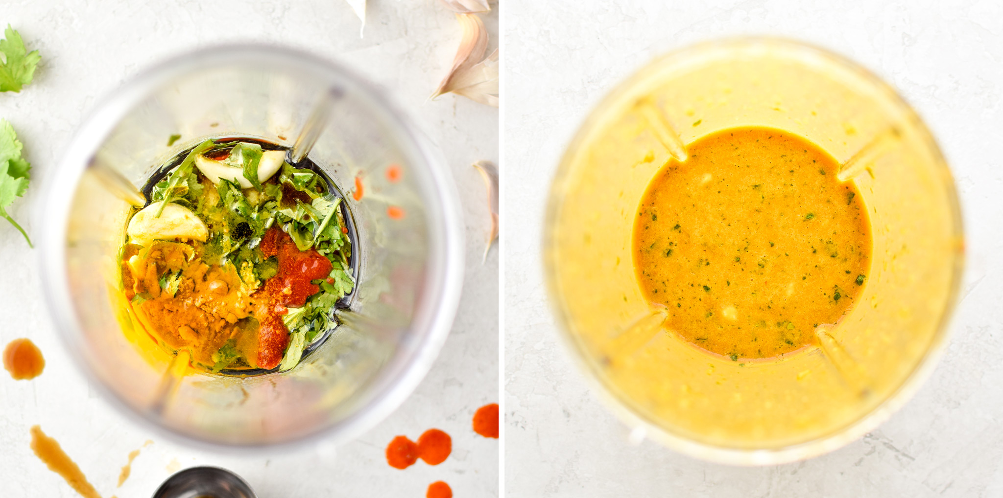 Before and after blending sauce for the Meal Prep Satay Inspired Thai Chicken Salad Bowls.