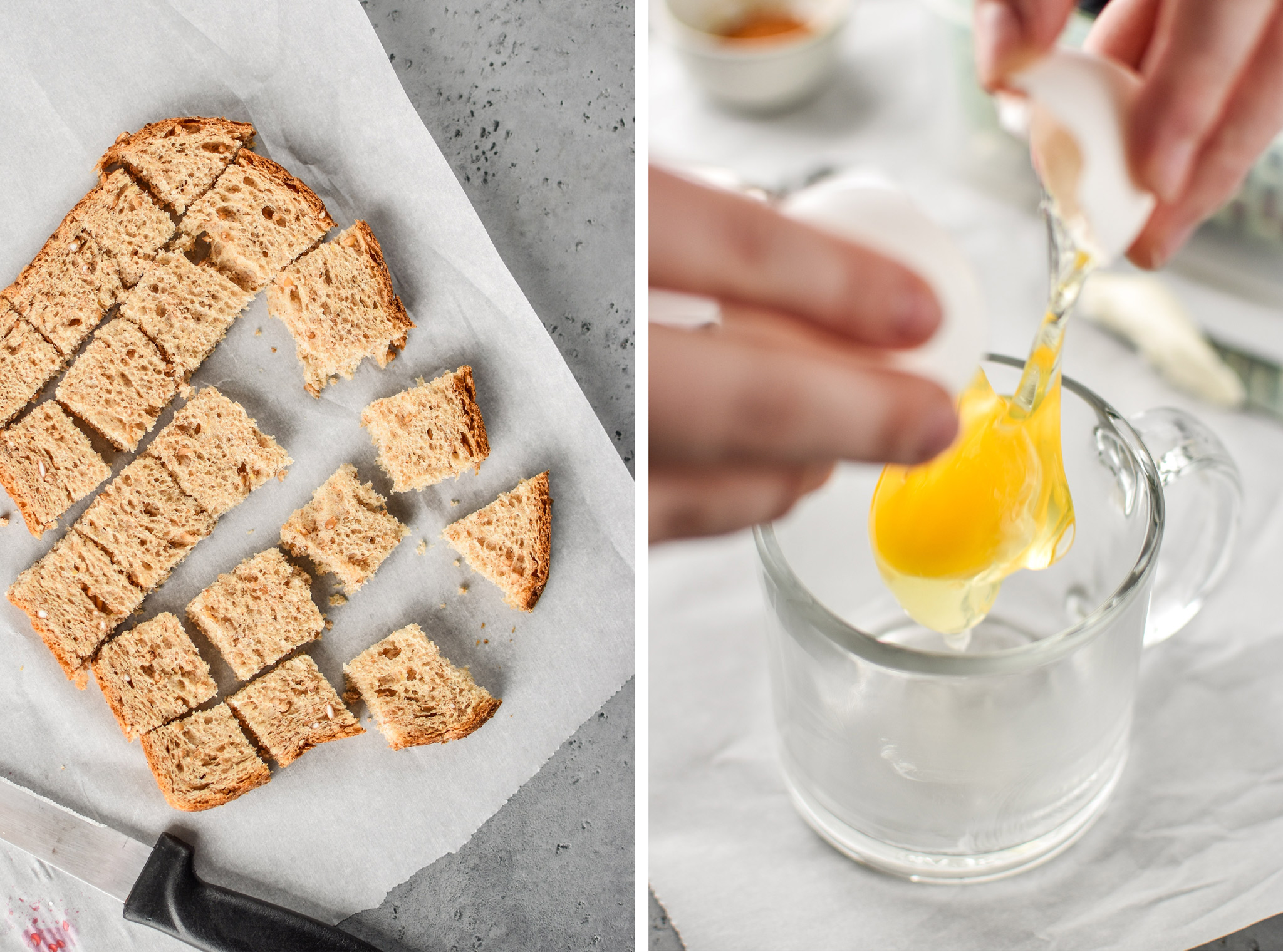 Left: Bread cut up for the microwave mug french toast. Right: Cracking an egg into the mug.