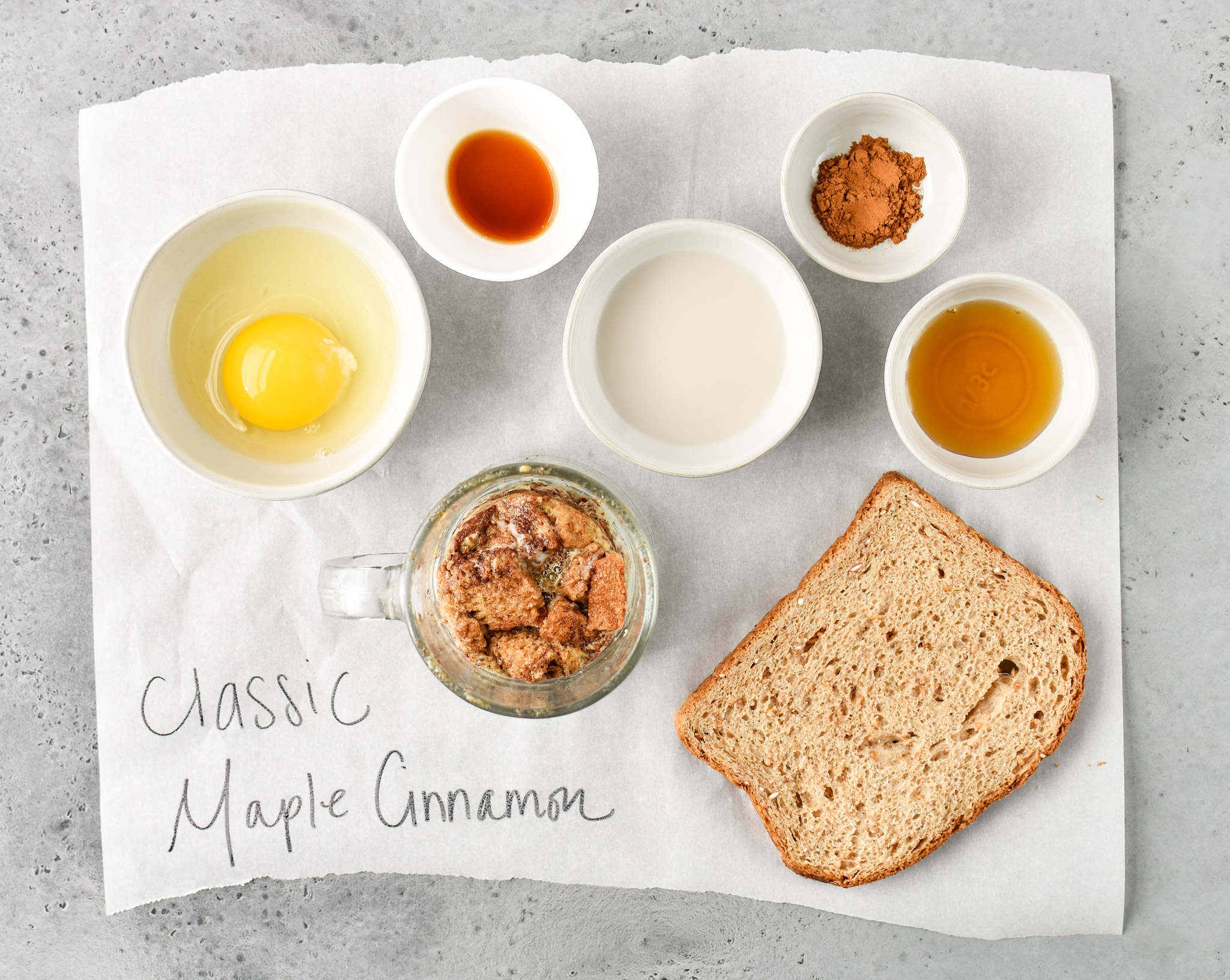 Ingredients for classic maple cinnamon microwave mug french toast