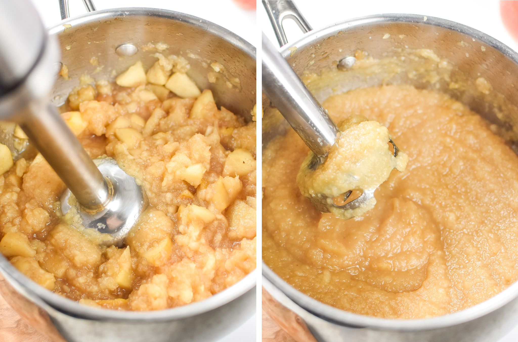 Left: Cooked apples about to be blended. Right: Apples blended into applesauce. Store Bought vs Homemade Applesauce: Which is Cheaper?